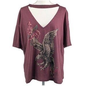 Altar'd State Mauve Top V Shaped Choker Eagle Over